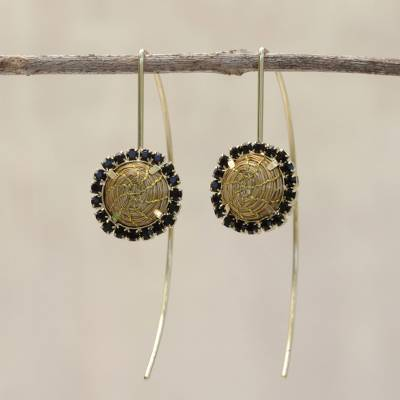 Gold accented golden grass drop earrings, 'Stellar Black' - Gold Plated Golden Grass Earrings with Black Rhinestones