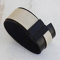 Leather wristband bracelet, 'Modern Tango' - Modern Black and White Leather Wristband Bracelet