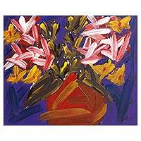 'Flowers Series I' - Signed Impressionist Painting of a Flower Vase from Brazil