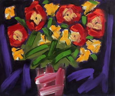 'Vase of Colorful Flowers' - Signed Painting of Flowers in a Vase from Brazil