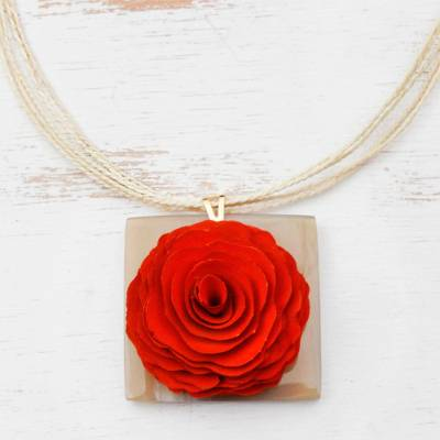 Wood and horn pendant necklace, 'Intricate Elegance' - Eucalyptus Wood and Horn Rose Flower Pendant Necklace