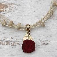Gold accented wood pendant necklace, 'Burgundy Flower' - Floral Gold Accent Wood Pendant Necklace from Brazil
