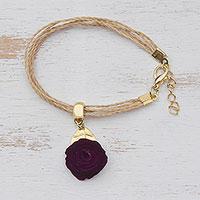 Gold accent wood charm bracelet,