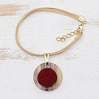 Gold accented wood and bone charm bracelet, 'Rose Circle' - Circle Gold Accent Wood and Horn Rose Flower Charm Bracelet