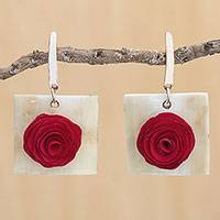 Gold accented wood and horn dangle earrings, 'Vibrant Rose' - Floral Wood and Bone Dangle Earrings in Vibrant Red