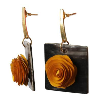 Gold accented wood and horn dangle earrings, 'Striking Rose' - Floral Yellow and Black Wood and Horn Dangle Earrings