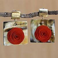 Gold accent wood and horn dangle earrings, 'Rose Magnificence' - Rose Flower Wood and Horn Dangle Earrings from Brazil