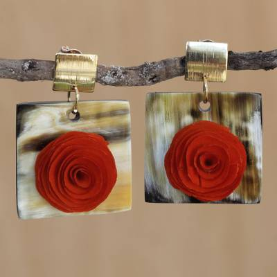 Gold accented wood and horn dangle earrings, 'Rose Magnificence' - Rose Flower Wood and Horn Dangle Earrings from Brazil