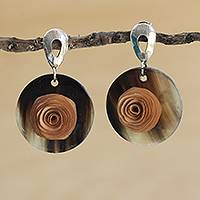 Gold accented wood and horn dangle earrings, 'Toffee Rose' - Beige Floral Gold Accented Wood and Horn Dangle Earrings