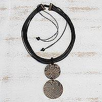 Featured review for Wood pendant necklace, Intricate Lines