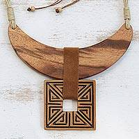 Wood and ceramic statement necklace, 'Ancient Royalty' - Wood and Ceramic Statement Necklace Handcrafted in Brazil