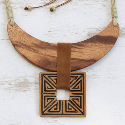 Wood and ceramic statement necklace, Ancient Royalty