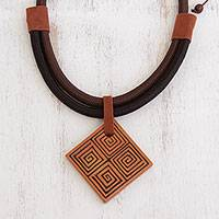 Suede accent ceramic pendant necklace, 'Square Labyrinth' - Suede Accent Square Ceramic Pendant Necklace from Brazil