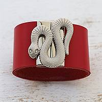 Leather wristband bracelet, 'Serpent Gatekeeper in Red' - Red Leather Snake Wristband Bracelet from Brazil