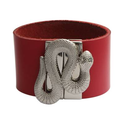 Red Leather Snake Wristband Bracelet from Brazil
