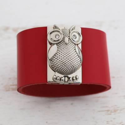 Leather wristband bracelet, 'Owl Gatekeeper in Red' - Leather Owl Wristband Bracelet in Red from Brazil