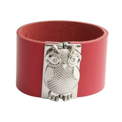 Leather Owl Wristband Bracelet in Red from Brazil