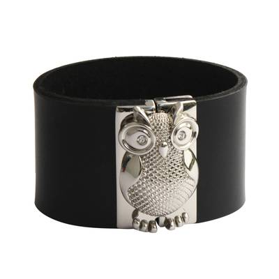 Leather Owl Wristband Bracelet in Black from Brazil