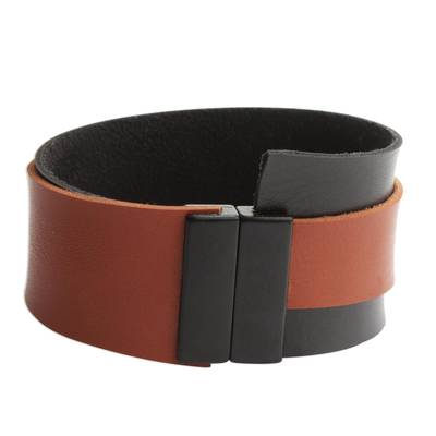 Black and Brown Faux Leather Wristband Bracelet from Brazil