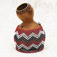 Gourd percussion instrument, 'Shekere Music' - Gourd and Plastic Bead Shekere Percussion Instrument