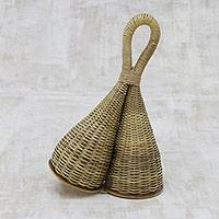 Natural fiber and gourd caixixi, 'Traditional Rhythm' (double) - Double Natural Fiber and Gourd Caixixi Percussion Instrument