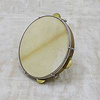 Leather and wood tambourine, 'Musical Rattle' - Leather and Pinewood Tambourine Crafted in Brazil