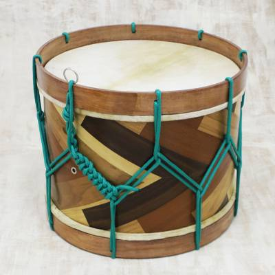 Wood and leather drum, 'Sophisticated Rhythm' - Handcrafted Wood and Leather Drum from Brazil