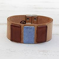 Glass and leather wristband bracelet, 'Sepia Sky' - Blue and Brown Glass and Leather Wristband Bracelet