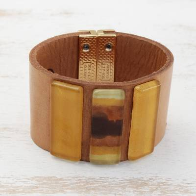 Glass and leather wristband bracelet, 'Yellow Horizon' - Yellow Glass and Leather Wristband Bracelet from Brazil
