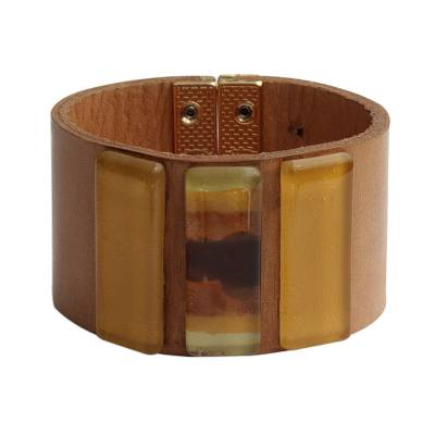 Yellow Glass and Leather Wristband Bracelet from Brazil