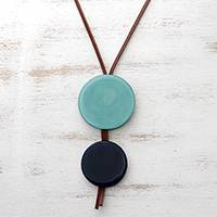 Glass and leather pendant necklace, 'Circular Modernity in Blue' - Blue Glass and Leather Pendant Necklace from Brazil