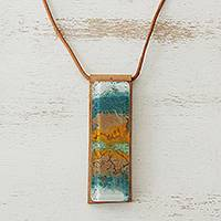 Glass and leather pendant necklace, 'Earth Ocean' - Earth-Tone Glass and Leather Pendant Necklace from Brazil