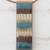 Glass and leather pendant necklace, 'Horizon Threads' - Striped Glass and Leather Pendant Necklace from Brazil (image 2c) thumbail