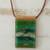 Glass and leather pendant necklace, 'Forest Layers' - Green Glass and Leather Pendant Necklace from Brazil thumbail