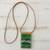 Glass and leather pendant necklace, 'Forest Layers' - Green Glass and Leather Pendant Necklace from Brazil (image 2b) thumbail