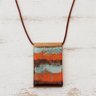 Glass and leather pendant necklace, Waves of Fire