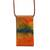 Glass and leather pendant necklace, 'Volcanic Fire' - Orange Glass and Leather Pendant Necklace from Brazil (image 2a) thumbail