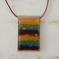 Glass and leather pendant necklace, 'Earth Waters' - Layered Glass and Leather Pendant Necklace from Brazil
