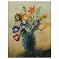'Vase with Flowers' - Signed Expressionist Painting of Flowers in a Vase