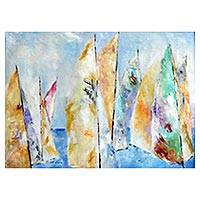 'Sailing' - Signed Impressionist Painting of Sailboats from Brazil
