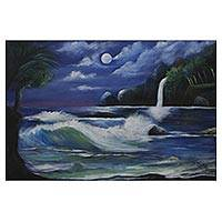 'In The Moonlight' (2018) - Signed Painting of a Beach at Night from Brazil (2018)