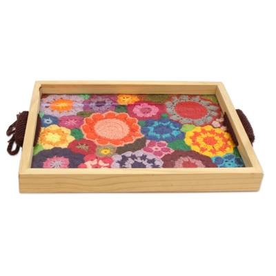 Multicolored Floral Cotton and Wood Tray from Brazil