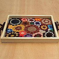 Cotton and wood tray,