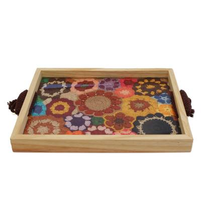 Colorful Floral Crocheted Cotton and Wood Tray from Brazil