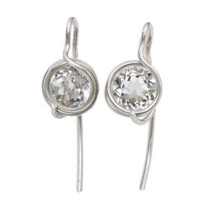 Circular Natural Quartz Drop Earrings from Brazil