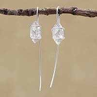 Quartz drop earrings, 'Crystalline Harmony' - Clear Quartz Drop Earrings from Brazil