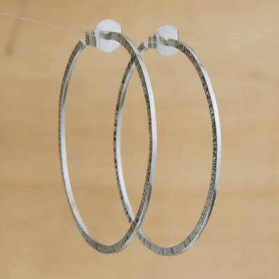 Sterling silver half-hoop earrings, 'Great Rings' - Combination Finish Sterling Silver Half-Hoop Earrings