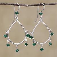 Agate waterfall earrings, 'Summer Shine in Green' (Brazil)