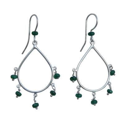 Agate Waterfall Earrings in Green from Brazil