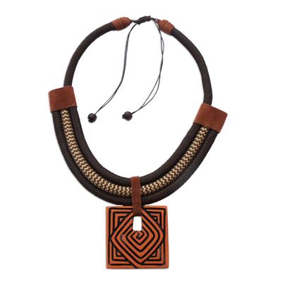 Spiral Motif Adjustable Ceramic Pendant Necklace from Brazil